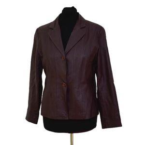 Vintage Bagatelle Burgundy Leather Blazer Jacket
